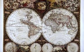 Picture map, monde wit, hemisphere