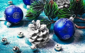 Picture balls, holiday, balls, toys, Board, new year, branch, bumps, pine, bells