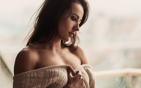 Picture look, girl, tenderness, photographer, window, face, charming, plump lips, Krzysztof Budych