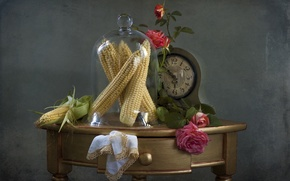 Picture watch, roses, corn, still life