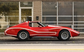 Wallpaper red, Prototype, the view from the side, Red, Muscle car, Spyder, white lines, street, Baldwin ...