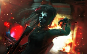 Picture girl, the explosion, face, skull, art, machine, killer, Day of the Dead
