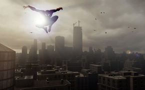 Picture red, white, sunset, jump, blue, speed, playstation, skies, spiderman, ps4, playstation 4