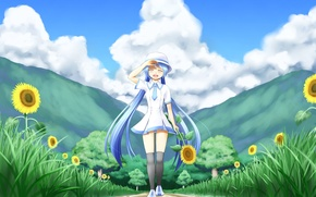 Picture girl, the sun, clouds, trees, joy, sunflowers, nature, mood, vocaloid, hatsune miku, Vocaloid, art, nanatsuba
