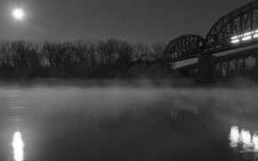 Wallpaper black and white, fog, bridge, night