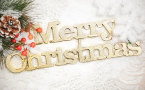 Picture snow, decoration, snowflakes, the inscription, Christmas, tree