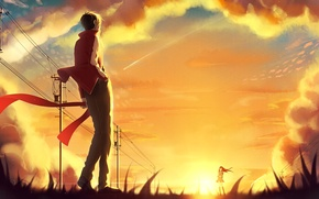 Wallpaper the sky, girl, the sun, clouds, sunset, posts, wire, anime, scarf, art, guy, kagerou project, ...