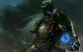 Picture magic, art, guy, helmet, crystal, armor