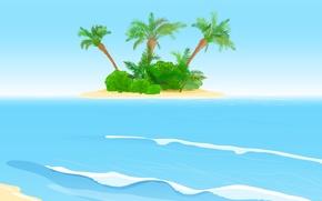 Picture sea, wave, palm trees, island, waves, the bushes, sea, island, palms, shrubs