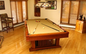 Wallpaper style, room, interior, table, the game, apartment, tree, wooden, Billiards, balls, design
