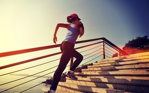 Picture stairs, training, sportswear