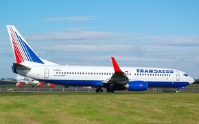 Picture wings, turbine, airport, Boeing, the plane, Boeing, passenger, 800, Transaero, B-737