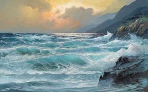 Picture waves, Art, sea, coast, water, rocks