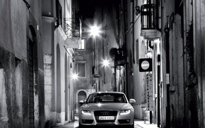 Wallpaper night, Audi, street, black and white, lights