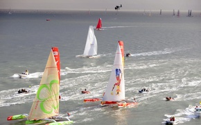 Picture sea, the sky, race, boat, yacht, boat, helicopter, sail, regatta, trimaran