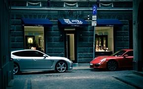 Picture white, red, Porsche, cars, Panamera