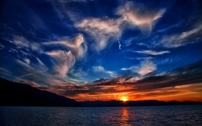 Picture sea, the sky, the sun, clouds, sunset, mountains