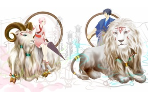 Picture Leo, Sakura, Sasuke, naruto, the signs of the zodiac, art, Aries, humoster