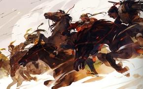 Picture attack, horse, the battle, arrows, riders, art, the Mongols, Senbonzakura