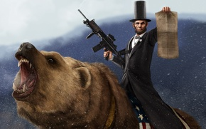 Picture snow, machine, Bear, proclamation, Abraham Lincoln