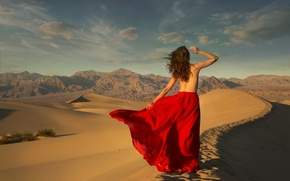 Picture sand, girl, desert, skirt, the situation