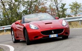 Picture road, machine, lights, red, the front, Ferrari California
