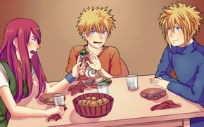 Picture Naruto, naruto, art, Minato, broccoli, Breakfast, Kushina