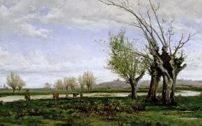 Wallpaper picture, Aureliano de Beruete and Moret, Bank of the Manzanares river, cow, tree, shepherd, river, ...
