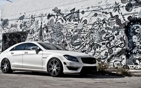 Picture white, wall, Mercedes-Benz, AMG, CLS63, gaffiti