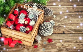 Picture New Year, snow, Merry, decoration, Christmas, tree, Christmas, wood, balls, decoration