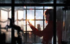 Picture girl, sunset, anime, window, art, sumiobunnya