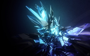 Picture crystal, abstraction, faces, render, abstraction
