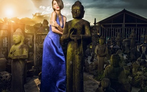 Picture girl, dress, Asian, statues