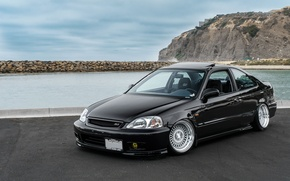 Picture rock, wheels, honda, black, sea, japan, jdm, tuning, civic, low, stance, mugen, type r, vtec