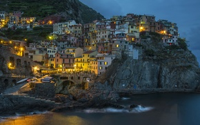 Wallpaper Italy, home, lights, sea, night, Cinque Terre, rocks, Manarola