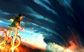 Wallpaper Into the storm, Storm, Bike, By yuume, Guy