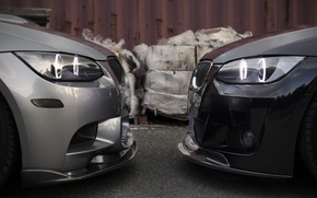 Picture black, bmw, BMW, silver, black, the front, e92, silvery, face-to-face, daylight, face to face, 335xi
