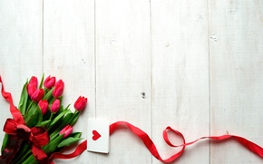 Picture flowers, holiday, tape, tulips, heart, bow, postcard, Valentine's Day