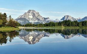 Picture forest, trees, landscape, mountains, lake, reflection, Grand Teton National Park