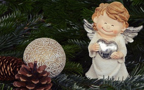 Picture decoration, branches, smile, holiday, toy, Shine, new year, cute, Christmas, angel, ball, tree, needles, ornament, ...