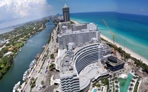 Picture sea, the sky, shore, home, crane, FL, USA, Miami