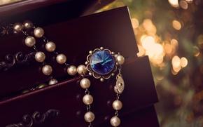 Wallpaper bokeh, blue, beads, stone, suspension, pendant, box