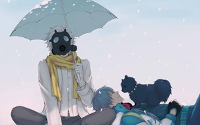 Picture snow, umbrella, scarf, gas mask, guys, doggie, Clear, DRAMAtical Murder, Aoba