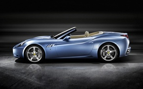 Picture Auto, Blue, Machine, Ferrari, Convertible, Ferrari, California, Sports car, Side view