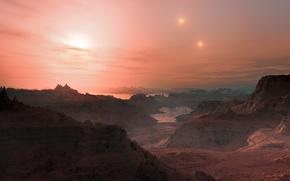 Picture stars, rocks, planet, Gliese 667