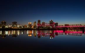 Picture bridge, river, river, bridge, Arkansas, Little Rock, Little Rock, Arkansas, pink light, pink light
