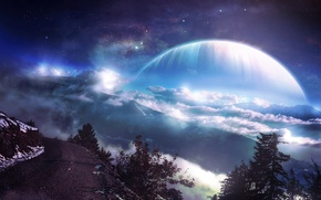 Picture road, forest, stars, clouds, mountains, Planet