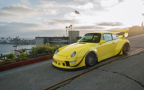 Picture Porsche, Yellow, 964, Turbo, RWB
