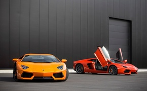 Picture orange, red, red, lamborghini, orange, aventador, lp700-4, Lamborghini, aventador