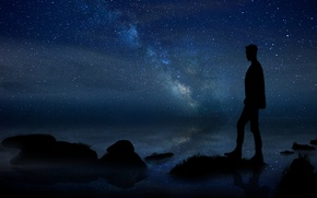 Picture summer, white, grass, black, sea, blue, land, stars, man, stones, milky way, silhouette, laneynest